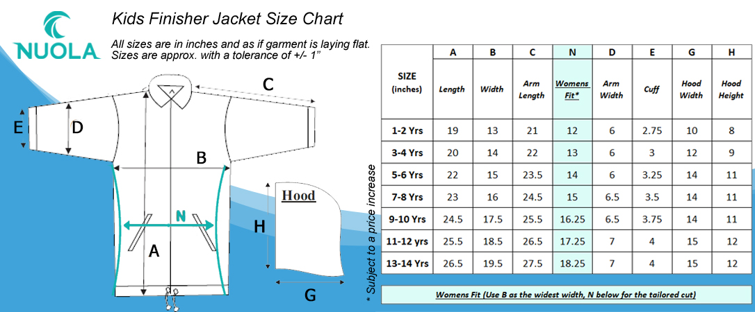 Finisher Jacket Kids Size Chart