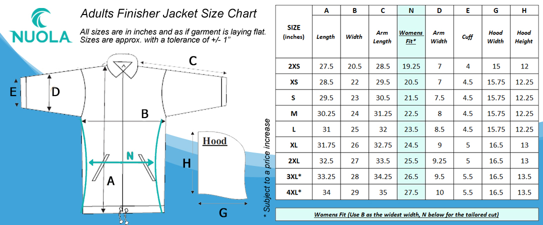 Finisher Jacket Adults Size Chart