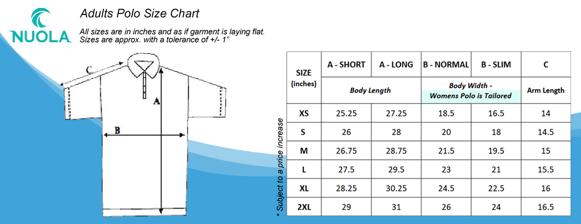 Custom Polo Size Chart