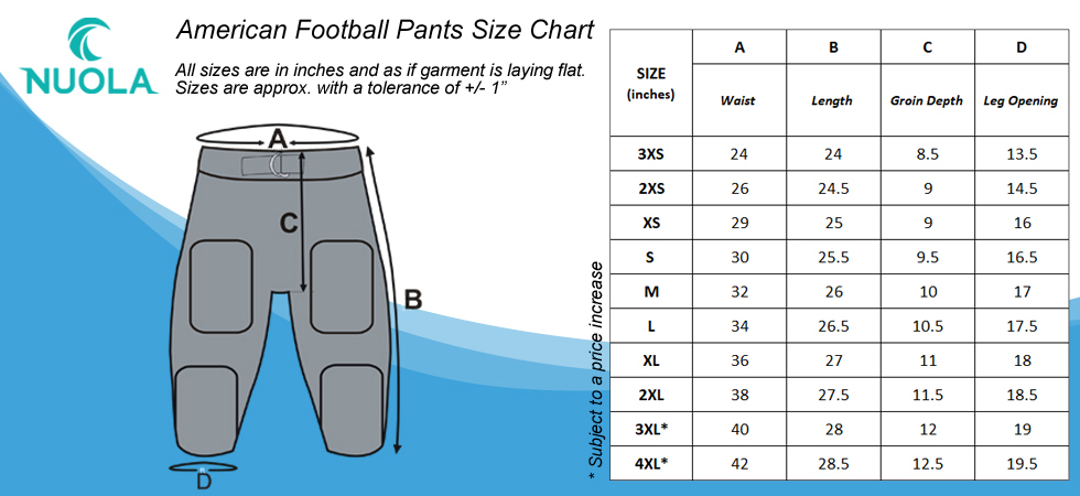 size chart NuOla American Football pants adults